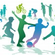 Children in the leisure and sport - Stok Vektr