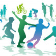 Children in the leisure and sport - 图库矢量图片