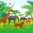Jungle with animals — Vector de stock