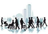Walkers in the City — Stock Vector
