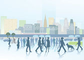Big city panorama — Stock Vector