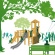 Climbing frame in the park — Stock Vector