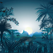 Night in the tropical rainforest - Imagen vectorial