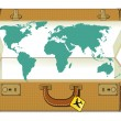 World traveling with suitcase — Stock Vector