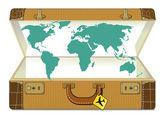 Wereld reizen met koffer — Stockvector