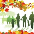 Stock Vector: Autumnal park with families