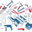 Stock Vector: Hand tools with toolbox