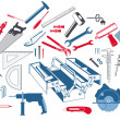 Hand tools with toolbox - Stock Vector