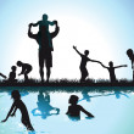Children swim in the lake — Stock Vector
