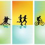 esportes, futebol, correr, andar de bicicleta — Vetorial Stock