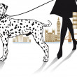 Walk with Dalmatians — Stockvectorbeeld