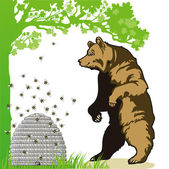 Bear with beehive — Stock Vector