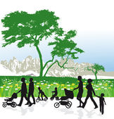 Families in mountain landscape — Stock Vector