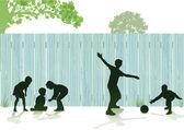 Children play in the garden — Stock Vector
