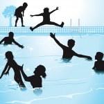Swimming in pool — Stock Vector