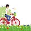 Ciclismo en la naturaleza — Vector de stock