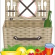 Picnic basket — Stock Vector