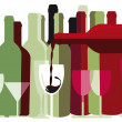 Stock Vector: White and red wine bottles and glasses