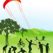 Children and young in the park — Imagen vectorial