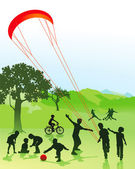 Children and young in the park — Stock Vector