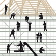 Construction workers building a house — Stock Vector