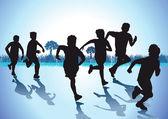Children run — Stock Vector