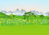Mountain meadow with mountains — Stock Vector
