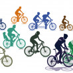 los ciclistas y bicicletas — Vector de stock