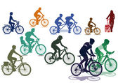 Cyclists and bicycles — Stock Vector