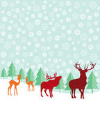 Deer and fir trees in the snow — Stock Vector