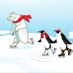 isbjörn och pingvin skridskoåkning — Stockvektor