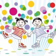 Two children and colorful dots — Stock Vector