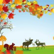 Autumn with wild animals — Image vectorielle
