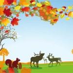 Autumn with wild animals — Stock Vector