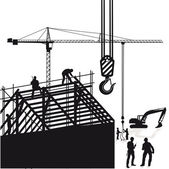 Crane and roof construction — Vector de stock
