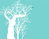 Old tree in winter — Stock Vector