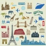 World Travel, Famous international landmarks — Stock Vector
