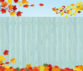 Wooden fence in autumn — Stock Vector