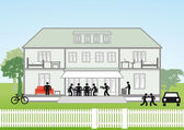 Family house cross-section — Stock Vector