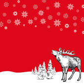 Christmas deer with snowflakes — Stock Vector