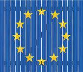 European flag on wooden fence — Stock Vector