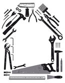 Werkzeug in Haus-Form — Stockvektor