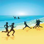 Fun and sports on the beach — Stockvector