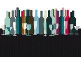 Spirits and wine bottles — Stock Vector