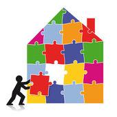 Puzzle building — Stock Vector