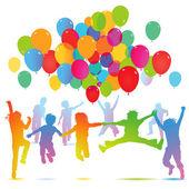 Children birthday with balloon — Stock Vector