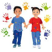 Children with handprint — Stock Vector