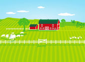 Farm with sheep — Stock Vector