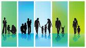 Five families — Stock Vector