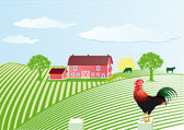 Farm with cock — Stock Vector